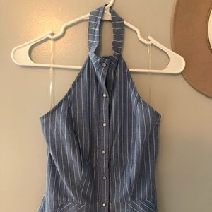 Charlotte russe pinstriped chambray halter dress
